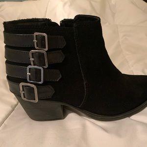 Crown Vintage black suede heeled booties